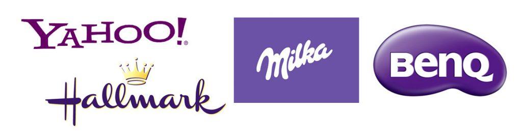 Yahoo, Hallmark, Milka, benq lila logók