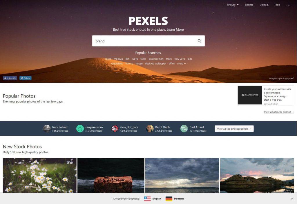 Pexels ingyenes képkeresés