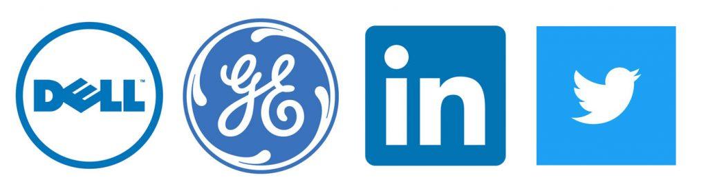 Dell. General eletric, Linkedin, Twitter logo
